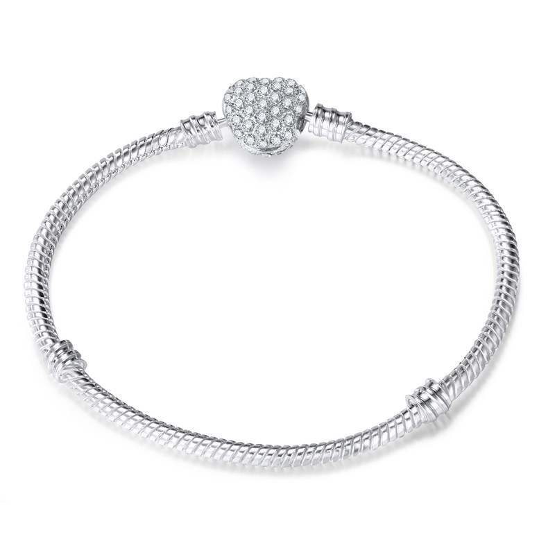 Women's 3mm Silver Snake DIY Chain Bracelet Charm Jewelry