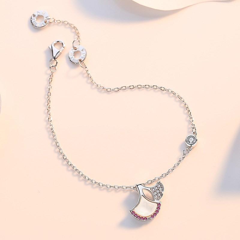 Rose Gold Silver Ginkgo Biloba Shell Diamond Chain Jewelry Bracelet