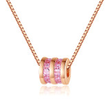 Sterling Silver Pink Zircon Diamonds Small Waist Clavicle Pendant Chain Jewelry Necklace
