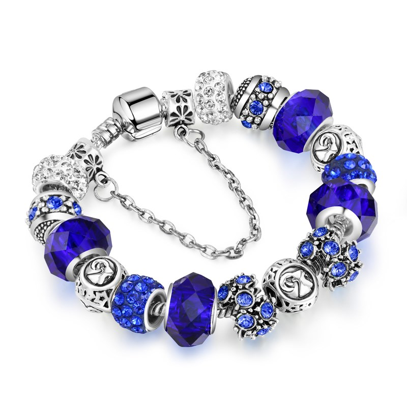 Women's 12 Constellations Crystal Beads Silver Bracelet Chain Charm Jewelry
