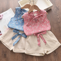Kid Girl Bowknot Floral Vest and Shorts Two Pieces Sets