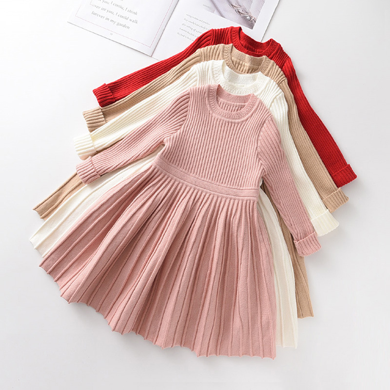 Toddler Girl Knitted Folding Long Sleeve A-line Dresses