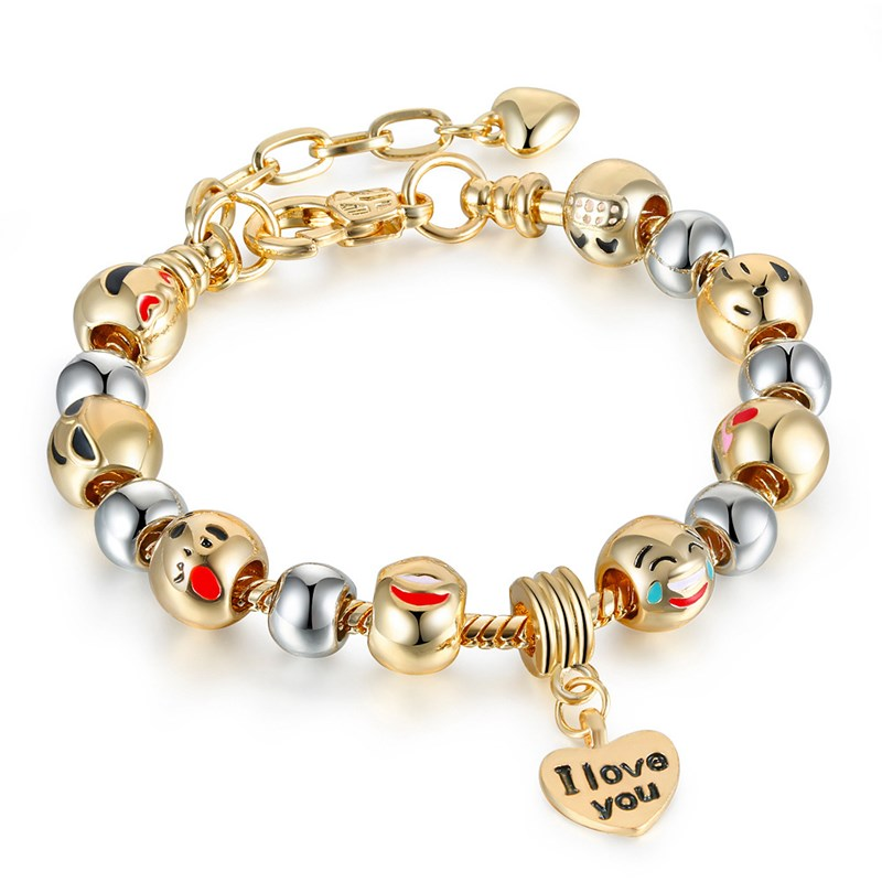 Women's Emoji Icon Gold Silver Round Beads I Love You Heart Gold Bead Charm Chain Jewelry Bracelet