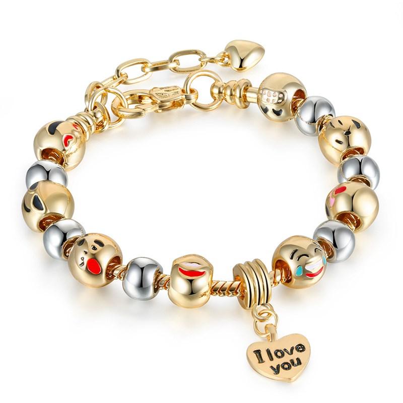 Women's Emoji Icon Gold Silver Round Beads I Love You Heart Gold Bead Charm Chain Jewelry Bracelet
