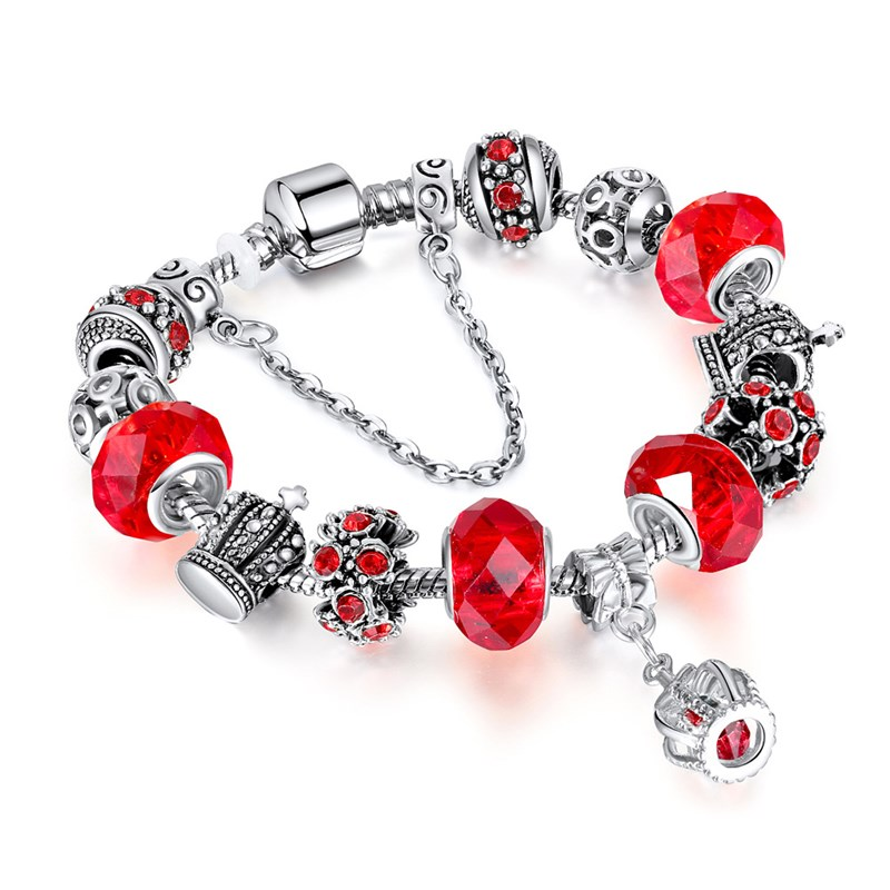 Women Crown Silver Beaded Crystal Charm Bead Girly Heart Bracelet