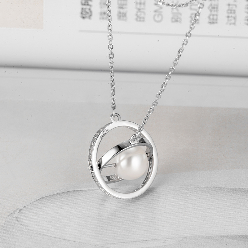 Sterling Silver White Zircon Diamonds Globe Pearl Clavicle Pendant Chain Jewelry Necklace
