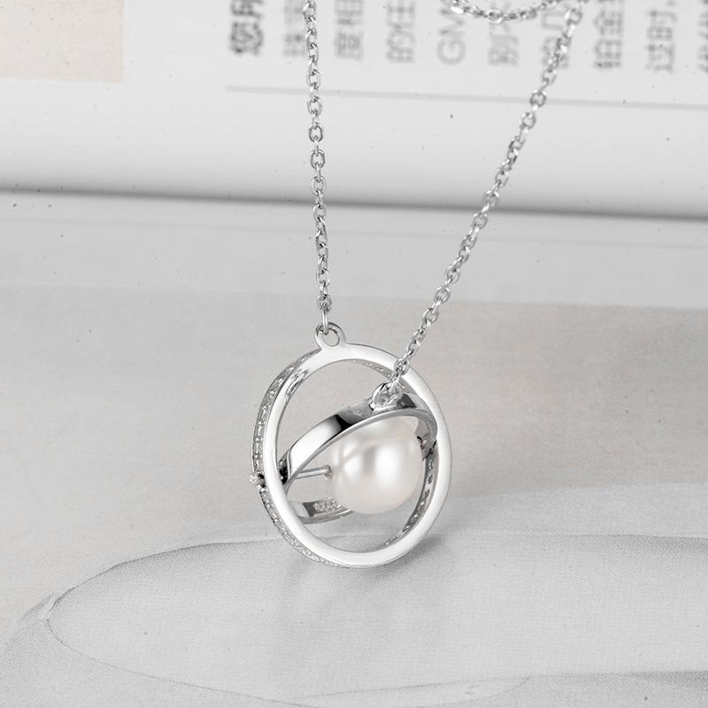 Sterling Silver White Zircon Diamonds Globe Pearl Clavicle Pendant Chain Jewelry Necklace