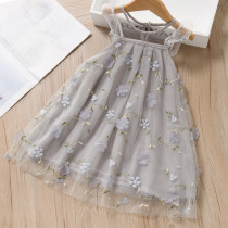 Toddler Girls Embroidered Flowers Lace Ruffles Sleeves Mesh Tutu Dress