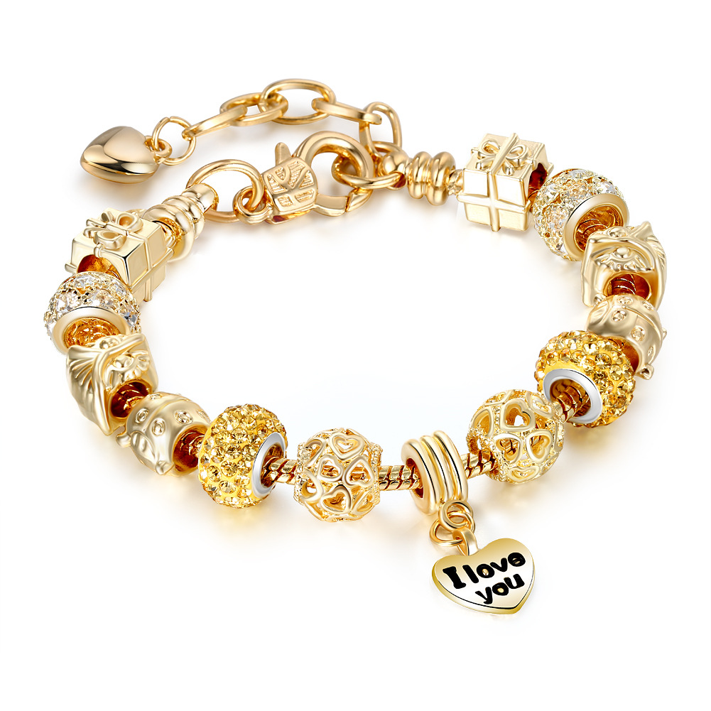 Women's Golden Heart I Love You Golden Gift Box Zircon Crystal Charm Chain Jewelry Bracelet
