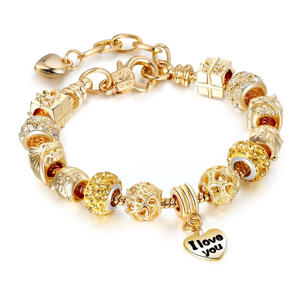 Women's Golden Heart I Love You Golden Gift Box Zircon Crystal Charm Chain Jewelry Bracelet