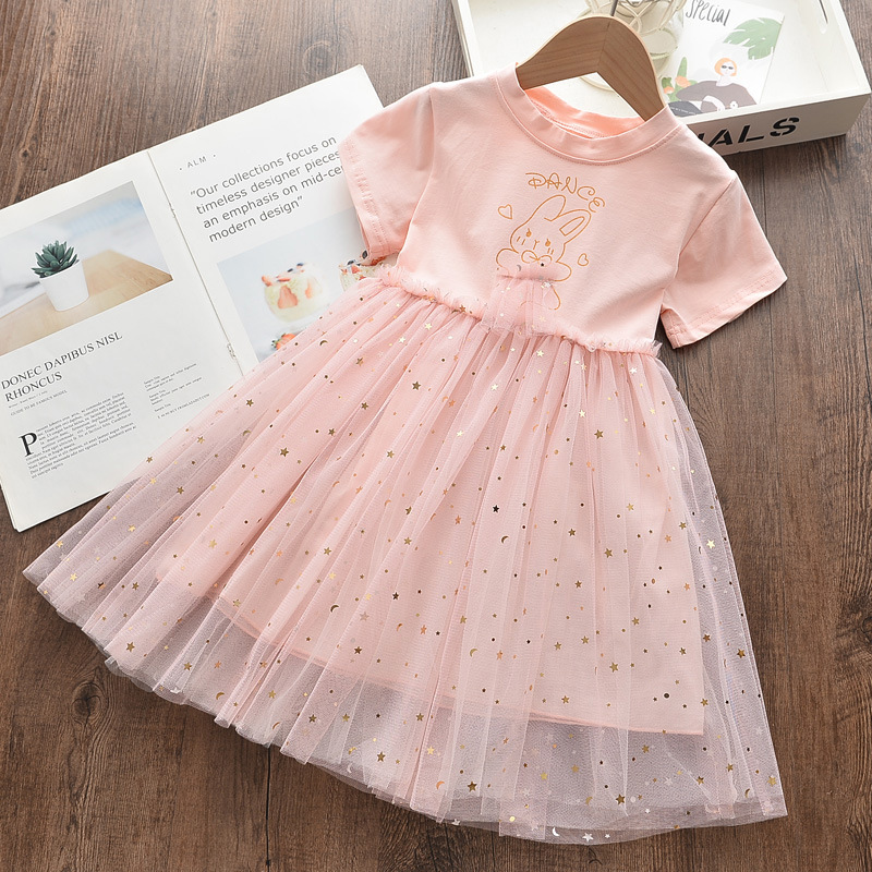 Toddler Girls Pink Rabbit Sequin Stars Short Sleeve Tutu Dress