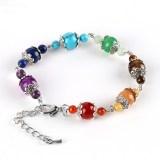 Healing Extension Seven Chakra Chain Silver Lotus Spacer Handmade Bracelet