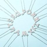 26 English Letters Alphabet Diamond Zircon Chain Silver Jewelry Necklace
