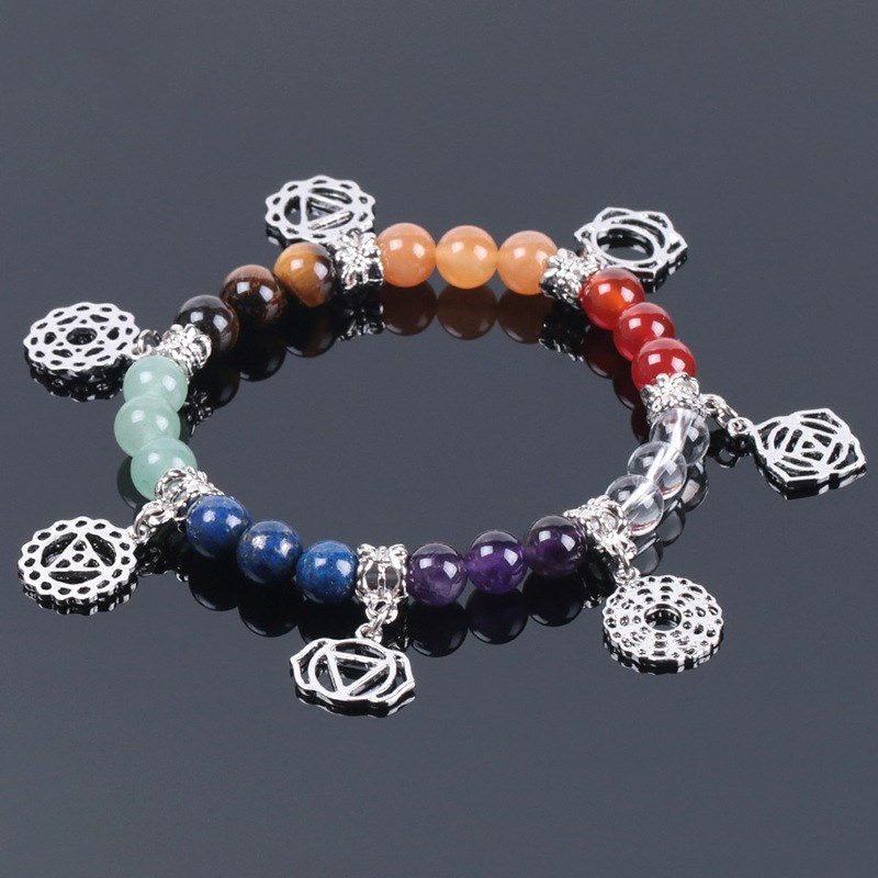 Rainbow Natural Stone Seven Chakra Small Commodities Classic Yoga Symbol Jewelry Bracelet