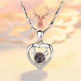 100 languages I love you Antlers Heart-shaped Clavicle Chain Necklace Jewelry