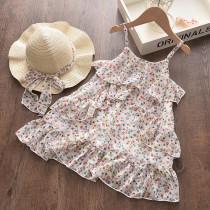 Toddler Girls Ruffles Floral Slip Dress Boho Dress With Hat
