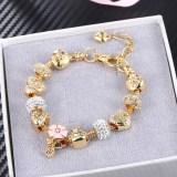Women's Light Gold Alloy Large Beads Flower Bracelet Chain Charm Jewelry