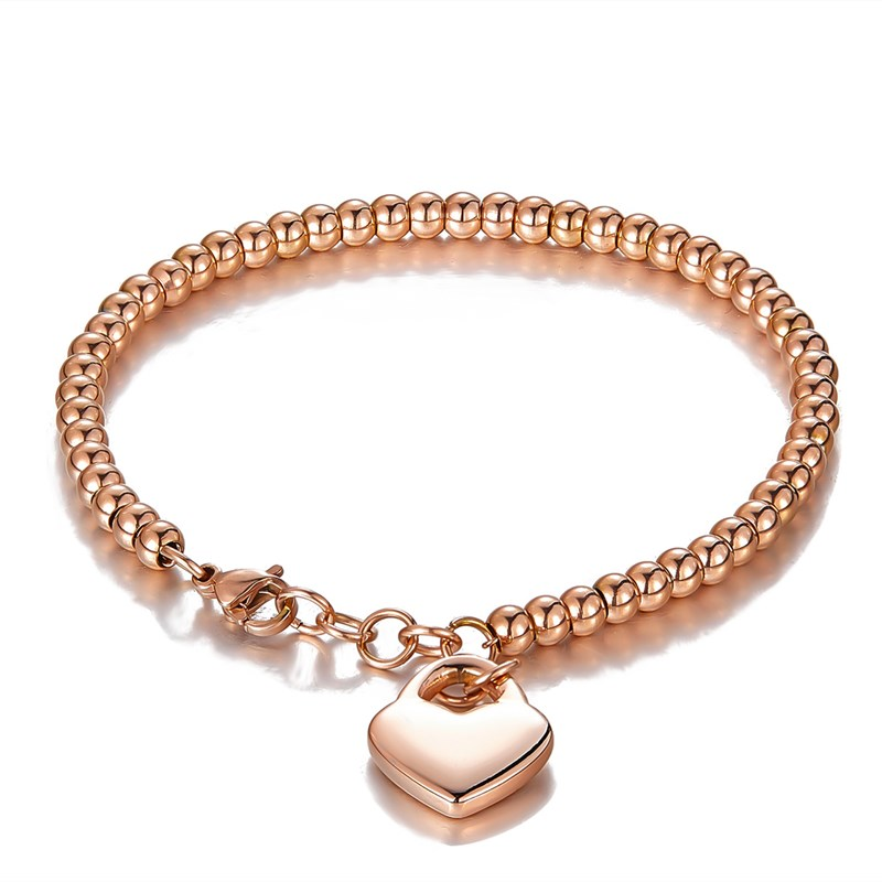 Rose Gold Silver Beads Love Heart Chain Jewelry Bracelet