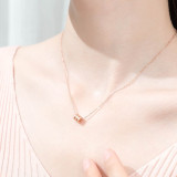 Sterling Silver Zircon Diamonds Small Waist Clavicle Pendant Chain Jewelry Necklace
