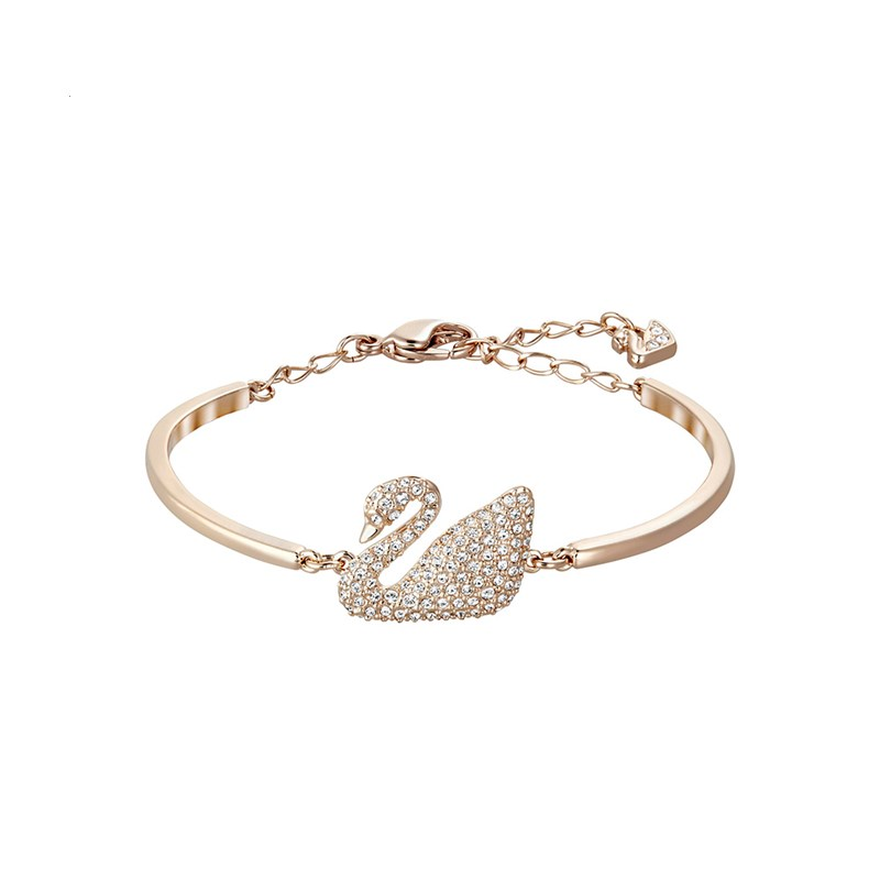 Classic Rose Gold Pink Swan Zircon Diamond Chain Jewelry Bracelet Bangle
