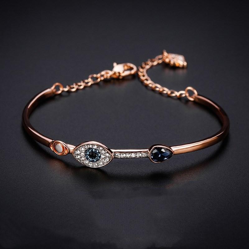 Swan Rose Gold Zircon Diamond Demon Eye Diamond Chain Jewelry Bracelet