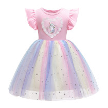 Toddler Girl Lace Pearls Unicorn Rainbow Tutu Stars A-line Gown Dresses