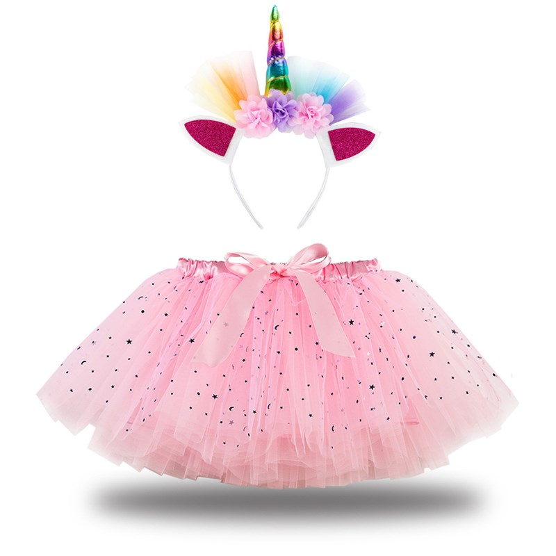 Toddler Girls Bowknot Sequins Stars Tutu Skirt with Unicorn Headband