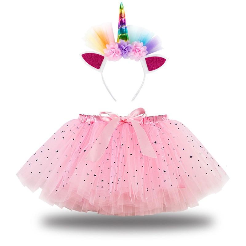 Toddler Girls Bowknot Sequins Stars Tutu Skirt with Unicorn Headband