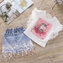 Toddler Girl Sequins Unicorn Ruffles Top and Denim Lace Flowers Sequin Skirt Two Pieces Sets