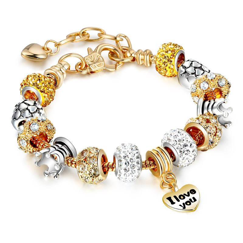 Women's Golden Heart I Love You Silver Crown Zircon Golded Crystal Charm Chain Jewelry Bracelet