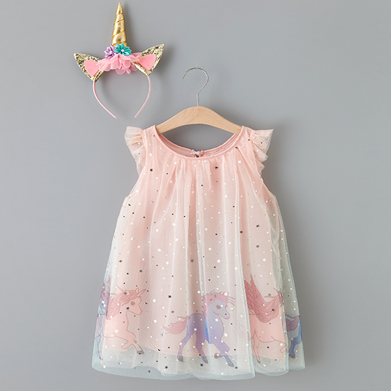 Toddler Girls Pink Unicorns Mesh Sequins Stars Tutu Dress with Unicorns Headband