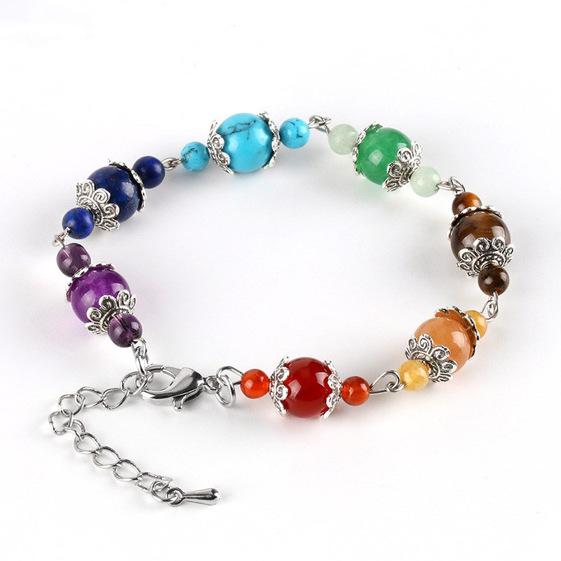 Healing Extension Seven Chakra Chain Silver Lotus Spacer Handmade Bracelet