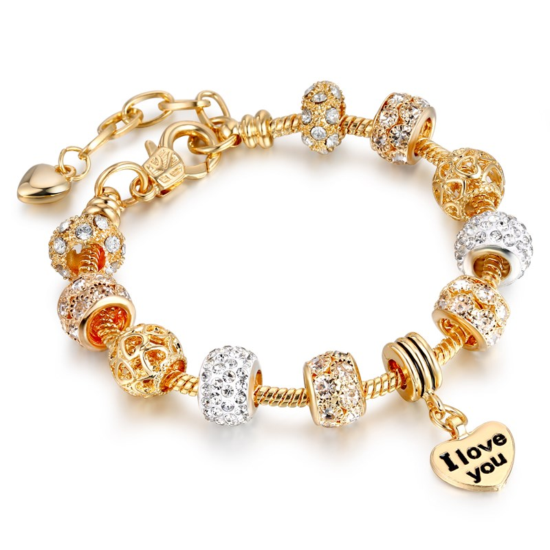 Women's Golden Alloy I Love You Heart Crystal Charm Chain Jewelry Bangles Bracelet