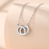 Silver Interlocking Double Circles Clavicle Pendant Chain Jewelry Necklace