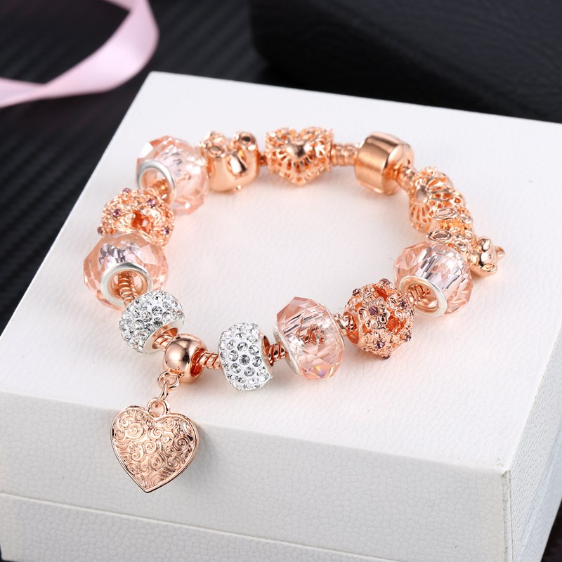 Women's Rose Gold Love Heart Cute Bear Beaded Pink Zircon Bracelet Chain Crystal Charm Jewelry