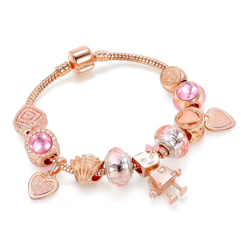 Women Rose Gold Robot Love Beaded Bracelet Pink Crystal Charm Beads Bracelet
