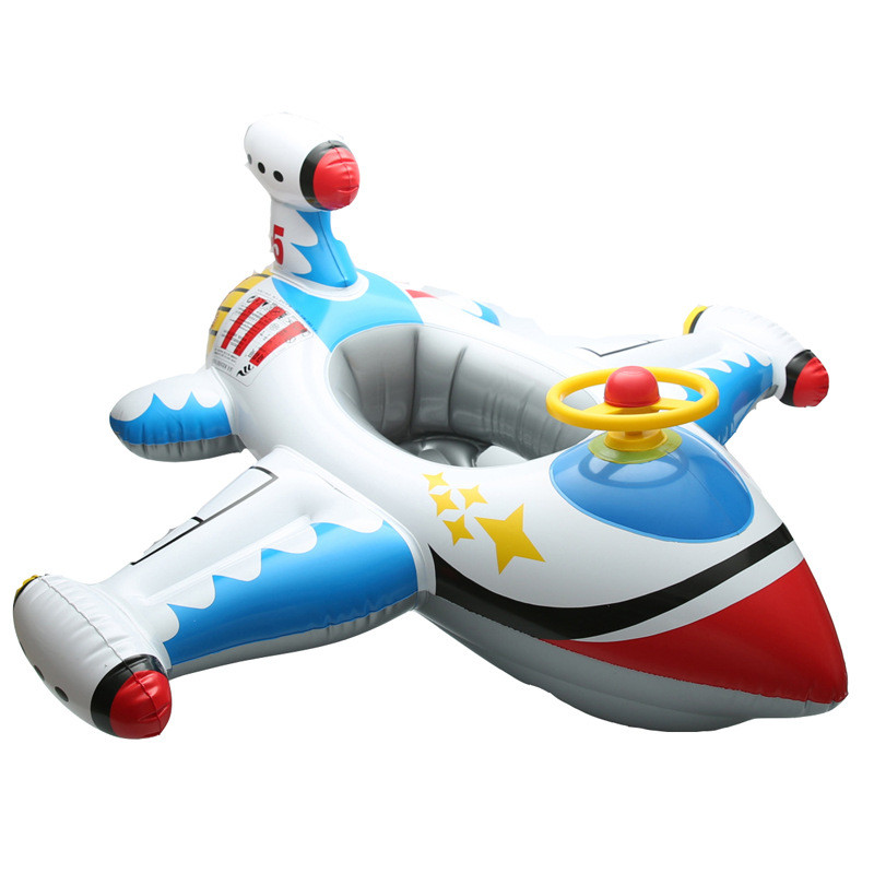 Toddler Kids Inflatable Plane Sitting Swimming Ring With Steering Wheel And Armrest