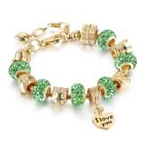 Women's I Love You Heart Zircon Diamond Gold Bead Bracelet Chain Charm Jewelry