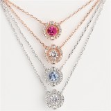 Silver Zircon Diamonds Beating Heart Clavicle Chain Jewelry Necklace