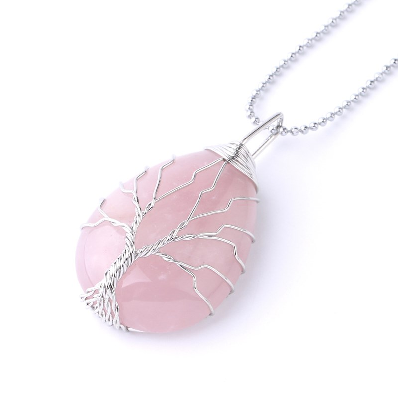 Drop-shaped Natural Crystal Stone Silver Tree of Life Chain Jewelry Necklace