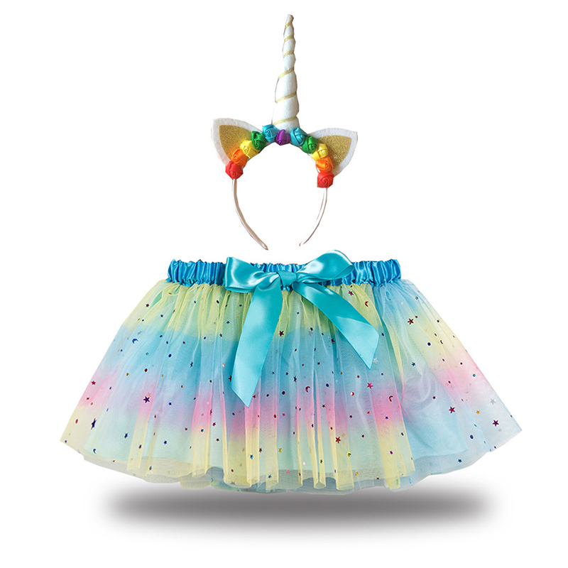 Toddler Girls 3 Colors Stars Sequins Tutu Skirt with Flowers Headband