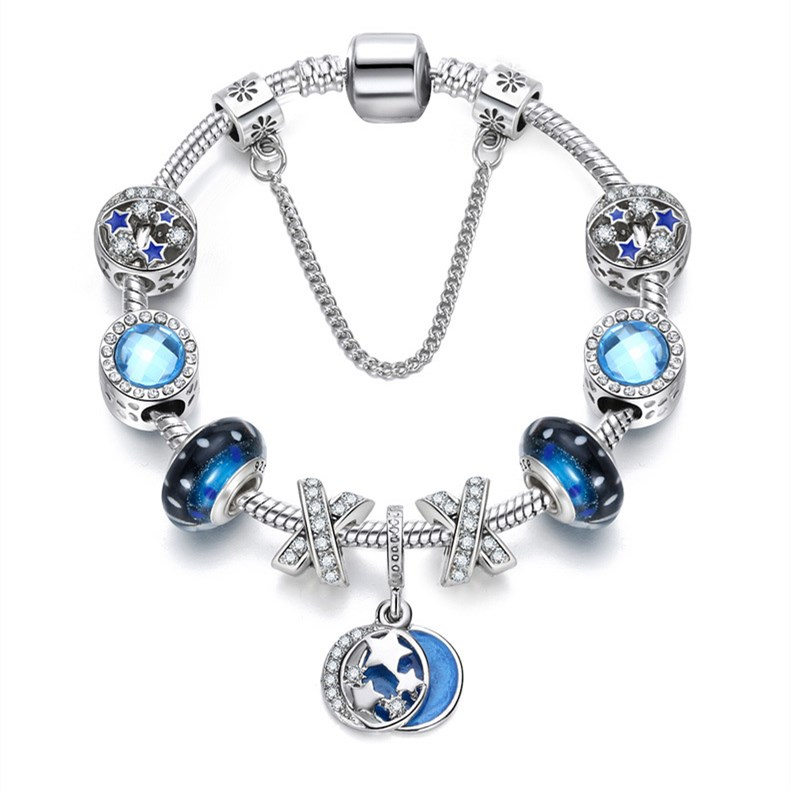 Women Blue Stars Silver Beaded Zircon Diamond Crystal Charm Bead Soft Chain Bracelet