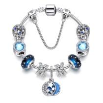 Women Blue Stars Silver Beaded Zircon Diamond Crystal Charm Bead Soft Chain Bracelet