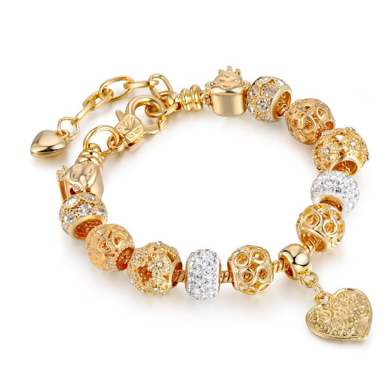 Women's Flower Gold Heart Love Silver Zircon Crystal Charm Chain Jewelry Bracelet