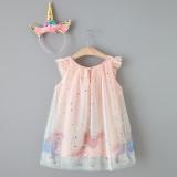 Toddler Girls Pink Unicorns Mesh Sequins Stars Tutu Dress with Unicorns Headband