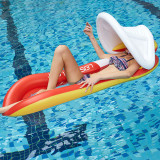 Inflatable Net Deck Chair Swimming Floating Row with Sunshade