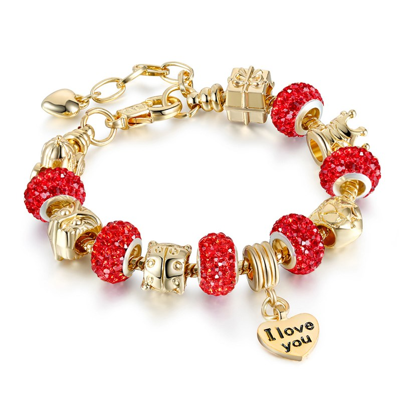 Women's I Love You Heart Zircon Diamond Gold Bead Bracelet Chain Charm Jewelry
