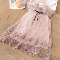 Toddler Girls Embroidered Lace Ruffles Sleeves Mesh Tutu Dress