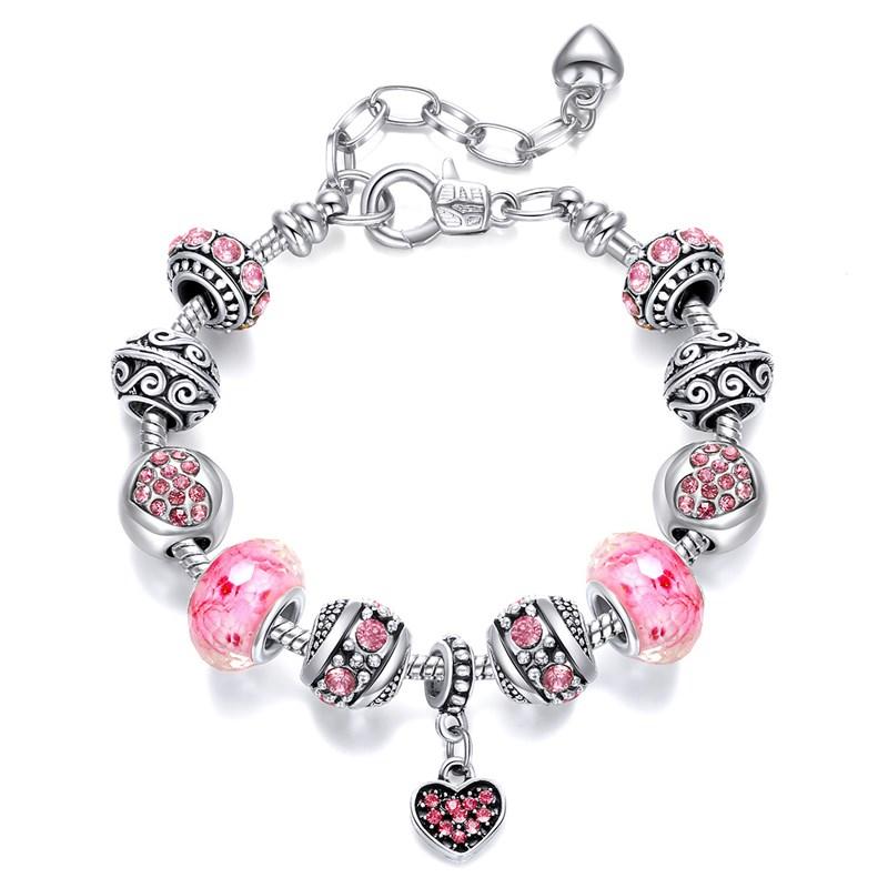 Women's Pink Heart Zircon Crystal Silver Charm Chain Jewelry Bracelet