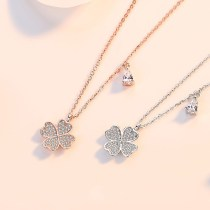 Sterling Silver Good Luck Four Leaf Clover Clavicle Pendant Chain Jewelry Necklace